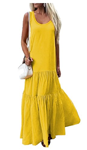 Jaycargogo Neck Sleeveless Yellow Women's Party Sexy Round Tiered Patchwork Dress rzrRn