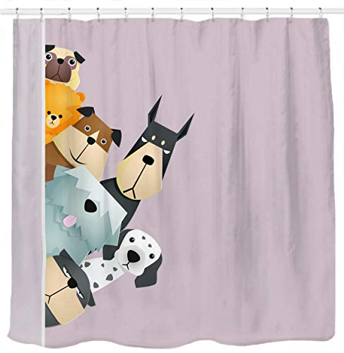 - Sunlit Peekaboo Cute Dogs Curious Cartoon Puppy Fabric Shower Curtain for Kids Dogs Lover PVC-Free Odorless Taupe Beige Brown Tawny with Dalmatian Bulldog Pug Poodle Beagle