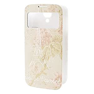 Nsaneoo - Eiffel Tower & Pink Flower Pattern Leather Case for Samsung S4