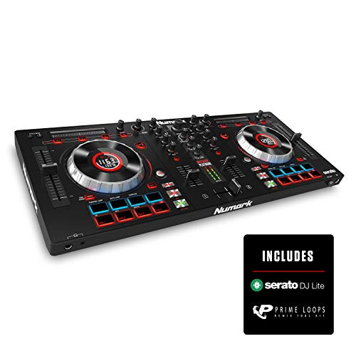 "Numark Mixtrack Platinum | DJ Controller With LCD Displays, 4 Decks, Metal Touch-Capacitive 5"" Jog Wheels, Multifunction Touch Strip & 24-bit Audio I/O + Serato DJ Intro Included"