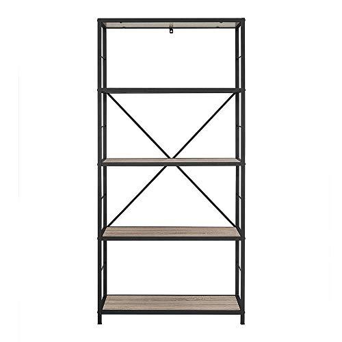 WE Furniture X-Frame Metal & Wood Media Bookshelf, 63