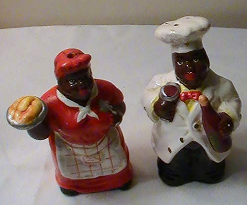(Vintage KMC Black Americana Salt and Pepper Set)