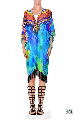 Devarshy Turquoise Blue Animal Print Georgette Shrug Short Designer Kimono (Animal Print Georgette Tunic)