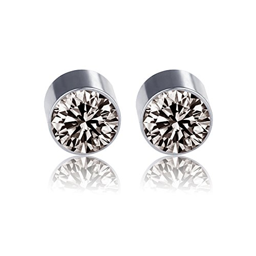 Stainless Steel Fake Magnetic Crystal Ball Nose Ear Lip Stud, Non Piercing (Grey)