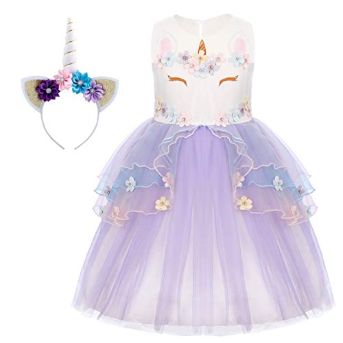 Happy Easter Costume - Baby Girls Flower Unicorn Mythical Costume Christmas Cosplay Princess Dress up Birthday Wedding Pageant Party Dance Outfits Evening Gown Purple Ruffles Petal + Headband 6-7 Years