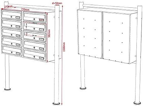Buzones Grupo Sistema de 10 Decorativo plateado Pie Soporte Exterior Cerradura Recubrimiento Polvo
