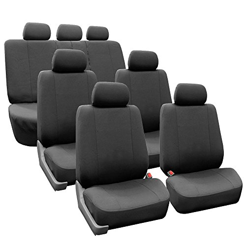 FH-FB052217 3 Row Multifunctional Flath Cloth Car Seat Covers, Airbag Compatible and Split Bench, Charcoal
