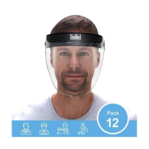 Steelbird-YS-20-Pack-of-12-7Wings-Unbreakable-Reusable-Unisex-Static-Face-Shield-Face-Mask-Full-Face-Protection