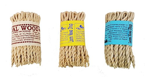 Incense Rope (Clarity & Muse Incense Bundle 3 Types of Nepali/Tibetan Rope Incense (Himalayan Cedar, Three Mixed, sandalwood) - Used for religious offering, meditation, prayers, purification, relaxation)