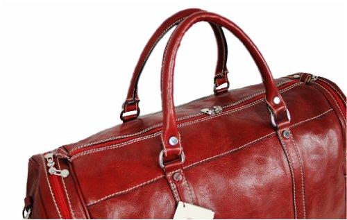 IL GIGLIO Leder Reisetasche / Wochenendetasche ROSSO 05835
