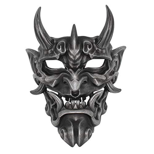 Resin Japanese NOH Mask, Deluxe Scary Halloween Prajna Cosplay Helmet Ghost Costume (Antique Silver)