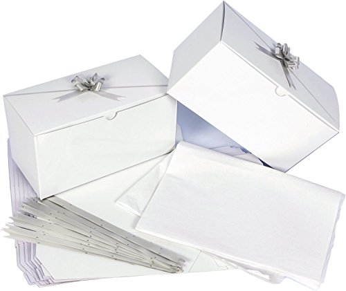 - White Gift Boxes 9 x 4.5 x 4.5 inches, 10 pack Gift Boxes with Lids, Bows and Tissue Paper. Perfect to Wrap Presents. Ideal for Baby Clothes, Bathing Products, Cupcakes, Cookies and other Gifts.