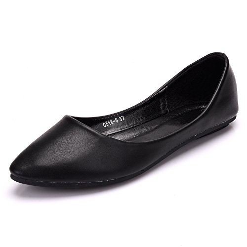 Pointed Toe Comfort Cute Casual JESSI Flat Black Women's Ballet Shoes MAIERNISI 6 wqxHE6aA