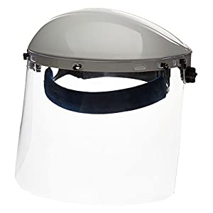 Sellstrom S30120 Advantage Series All-Purpose Face Shield, Clear Polycarbonate Shield, Ratchet Headgear with Blue Comfort Temple Band