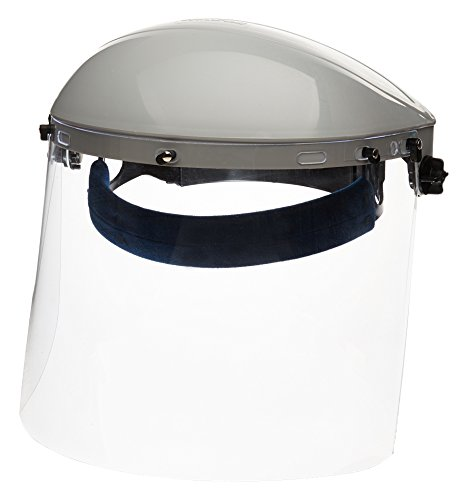(Sellstrom S30120 Advantage Series All-Purpose Face Shield, Clear Polycarbonate Shield, Ratchet Headgear with Blue Comfort Temple Band)
