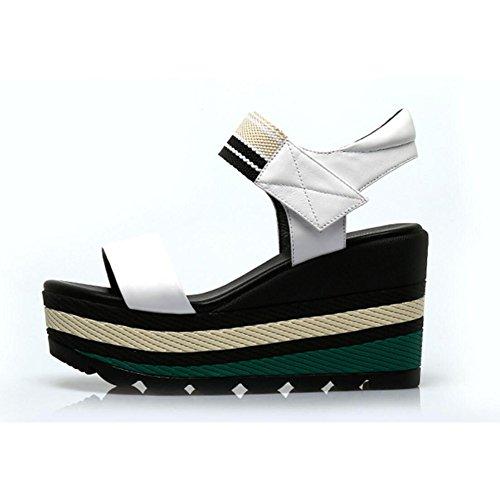 Blancas Rojas Simples De Plataforma Plataforma De Plataforma Cuña Sandalias Negras Y Zapatos Zapatos Alto De Tacón White Mujer para De Sandalias Sandalias De De Cuero Fw7gwRqHa