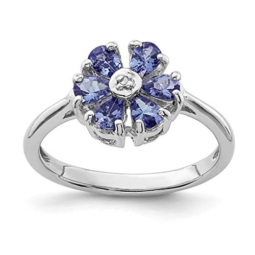 - ICE CARATS 925 Sterling Silver Blue Tanzanite Diamond Band Ring Size 6.00 Stone Flowers/leaf Gemstone Fine Jewelry Ideal Gifts For Women Gift Set From Heart