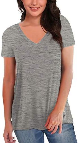 SAMPEEL Women's Basic V Neck Short Sleeve T Shirts Summer Casual Tops