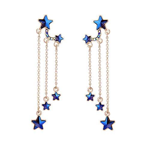 - Blue Stars Dangle Earrings Crystal Drop Earrings For Girls Women With Swarovski Element Crystal