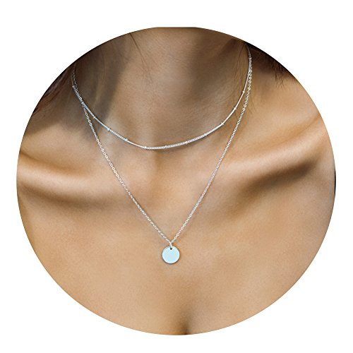 Befettly Womens Round card Double Layered Choker Necklace Handmade 14K Gold Fill Boho - Double Necklace Strand