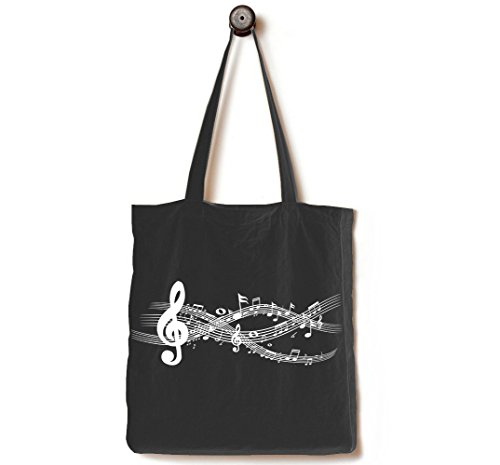 [Upgraded] Andes Heavy Duty Gusseted Canvas Tote Bag, Handmade from 12-ounce 100% Natural Cotton, Perfect for Shopping, Laptop, School Books, The Musical Notes Black (Music Book Carrying Case)