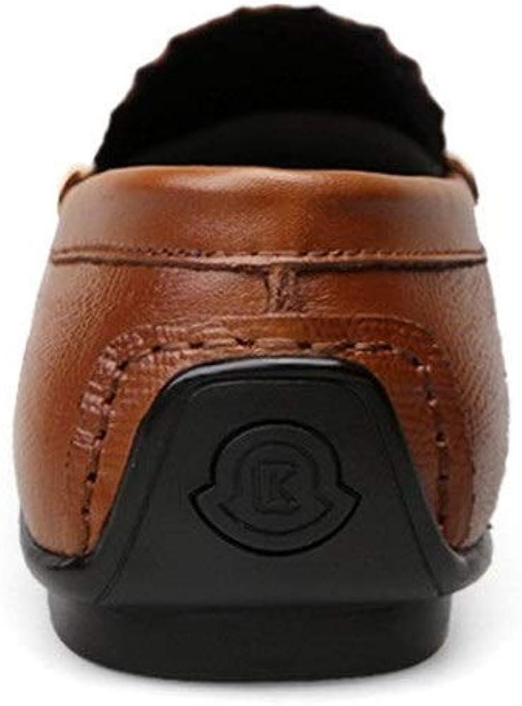 Loisirs Attelage Mocassins for Oxfords Toe Hommes Round Chaussures Penny en Relief Flat Slip en Cuir véritable sur Stitch léger. Marron