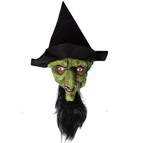 Witch Mask (Halloween Witch Mask with Hair & Hat, Halloween Props, Best Halloween Decoration)