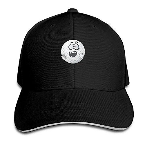 Men Women Golf Ball Smiley Emoji Cartoon Face Fashion Peaked Sandwich Hat Sports Adjustable Baseball Cap Unisex