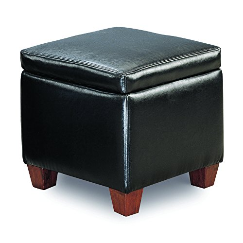 Coaster Causal Faux Leather Storage Cube Ottoman, Black