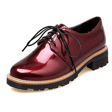 Zapatos de tacones de las mujeres Primavera Verano Otoño Comfort cuero sintético oficina y carrera Fiesta y Noche Casual tacón grueso con cordones Negro Rosa Borgoña Otros Pink