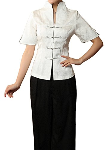 Bitablue Women's Good Fortune and Longevity Linen-Blend Chinese Short-Sleeve Shirt (White, Small) ()