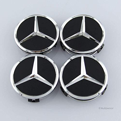 Mercedes Amg Wheel - Autowoor Black Wheel Center Hub Caps Mercedes Benz,75mm/3 Inch Fit for Mercedes Benz All Models with (4 pcs)