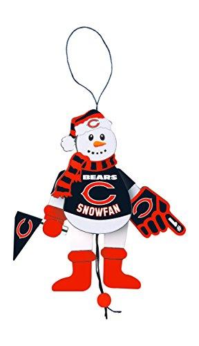 Boelter Brands NFL Chicago Bears Wooden Cheering Snowman Ornament