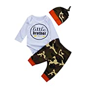 3PCS Newborn Baby Boys Cute Little Brother Romper+Camouflage Pants+Hat Outfits Set (0-6 Months, Camo-1)