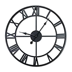 F.G.Y 18'' Large Wall Clock, Decorative Iron Metal Wall Clock with Retro Roman Numerals, Vintage Hollow Wall Clock for Living Room Bedroom Kitchen Décor