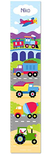 Trains Planes and Trucks Personalized Wall Decal Growth Chart By Olive Kids