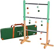 tenalach Durable Ladder Toss Game Set for Backyard Fun   Includes Solid Hardwood Ladder, 6 Golf-Ball Bolas and