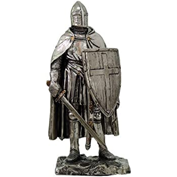 Crusader Knight Statue Silver Finishing Cold Cast Resin Statue 7