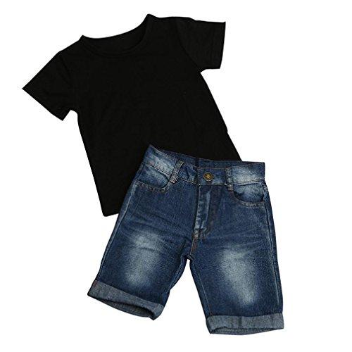 Vibola T-shirt Tops Cotton + Denim Pants 2pcs Clothes Sets Newborn Toddler Baby Boy (Size:5T)