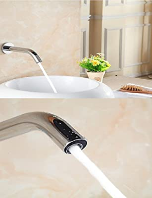 BL Electronic Automatic Sense Basin Tap Wall Mount Water Saving Faucet Battery Or 220V Power , silver