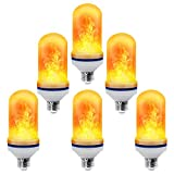 CPPSLEE - LED Flame Effect Light Bulb - 4 Modes with Upside Down Effect - E26 Base LED Bulb - Flame Bulbs for Christmas Home/Hotel/Bar Party Decoration (6 Pack)