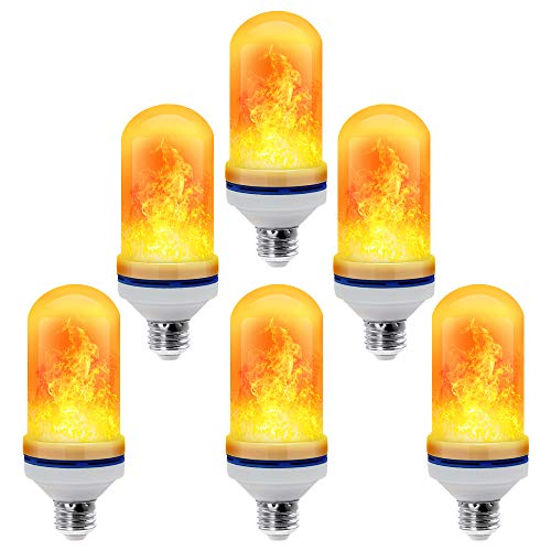 CPPSLEE - LED Flame Effect Light Bulb - 4 Modes with Upside Down Effect - E26 Base LED Bulb - Flame Bulbs for Christmas Home/Hotel/Bar Party Decoration (6 Pack)]()