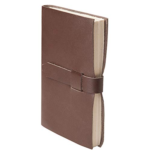 Handmade Leather Journal with Thick Vintage Lokta Paper - Genuine Leather Travel Notebook Crafted by Hand in Nepal for Men & Women - 5.5 x 8 Inch Brown Daily Diary