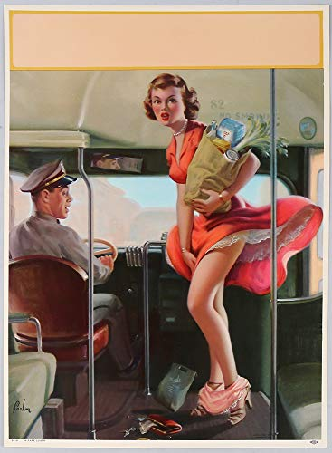 Vintage 1953 Large Pin-Up Print Cheesecake Themed Embarrassment Series by Art Frahm Lithograph Titled A Fare Loser