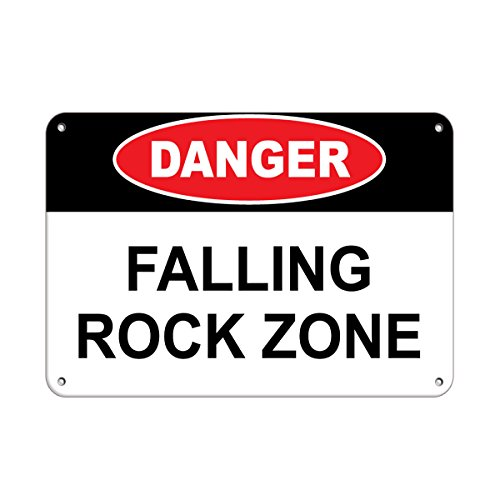 Danger Falling Rock Zone Hazard Sign Construction Sign Aluminum METAL Sign 24 in x 18 in from Fastasticdeals