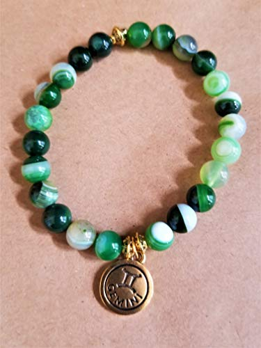 Gemini Green Agate Antique Gold Coin Bracelet ()