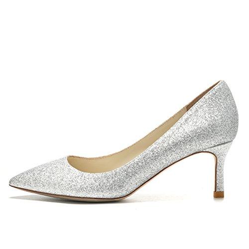 HUAIHAIZ Tacones altosVestido, la chica de alto talón zapatos zapatos de boda banquetes de boda, zapatos zapatos de cristal. Silver 8.5CM