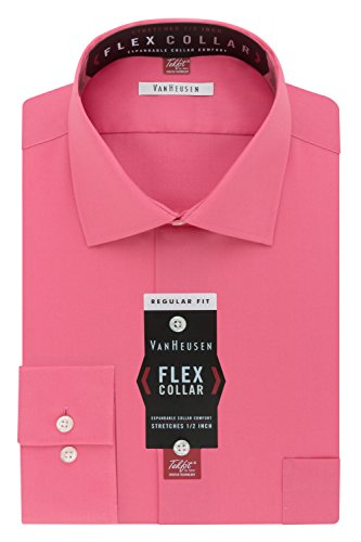 Van Heusen Men's Flex Collar Regular Fit Solid Spread Collar Dress Shirt, English Rose, 17.5'' Neck 34''-35'' Sleeve by Van Heusen