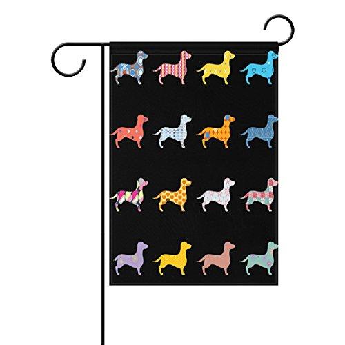 Dachshund Garden - WOZO Lovely Dogs Dachshund Garden Flag Cute Puppy Black 12