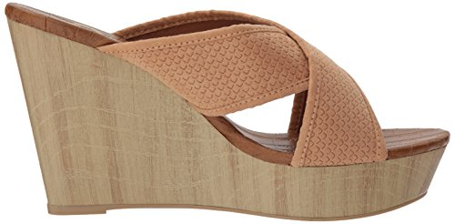 Toffee Band Sandal Suede Wedge Slide Qupid Women's X Polyurethane WcUnH4wYC